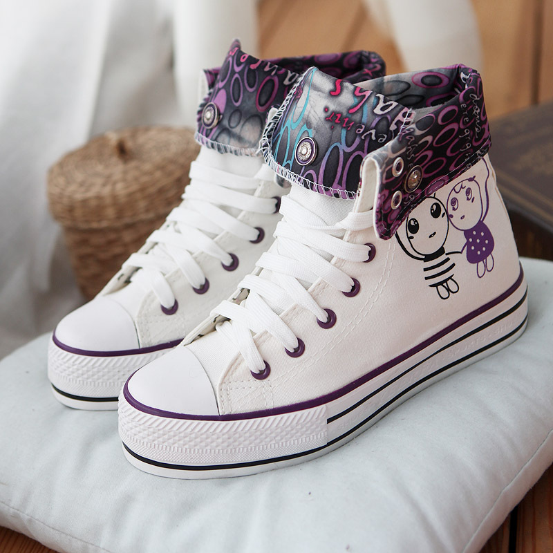 Nilanya The spring and autumn period and the leisure shoes classic high help canvas hand painted