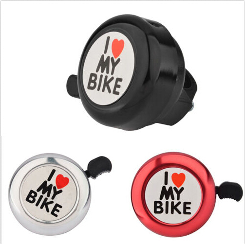 2016 I Love My Bike Printed Clear Sound s Bike Alarm Warning Ring Bell Cute Bicycle Accessorie for Children White Red Blue Black