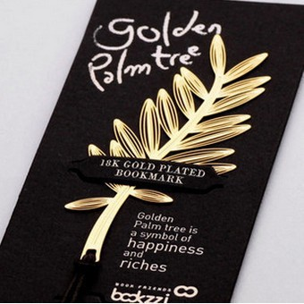 customized business gifts gold palm leaves a Korean creative metal hollow bookmark wholesale 75*33mm 3 pcs/set free shipping(China (Mainland))