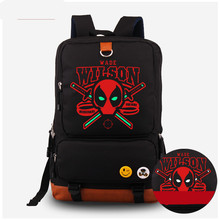 New American Film Deadpool Canvas Luminous backpack marvel comics super heroes red x-men shoulder school bag
