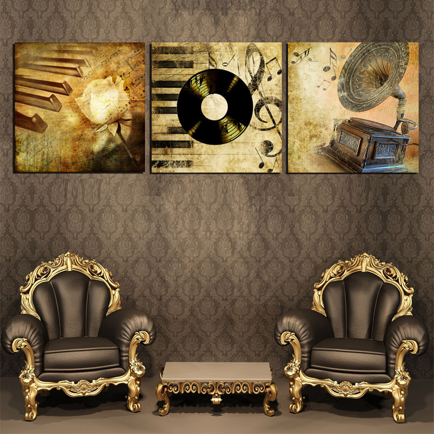 3 Panel Quality Canvas Painting Retro Old Style Pop Art Music Record Box Pictures Home Decoration On The Wall Quadros No Frame(China (Mainland))