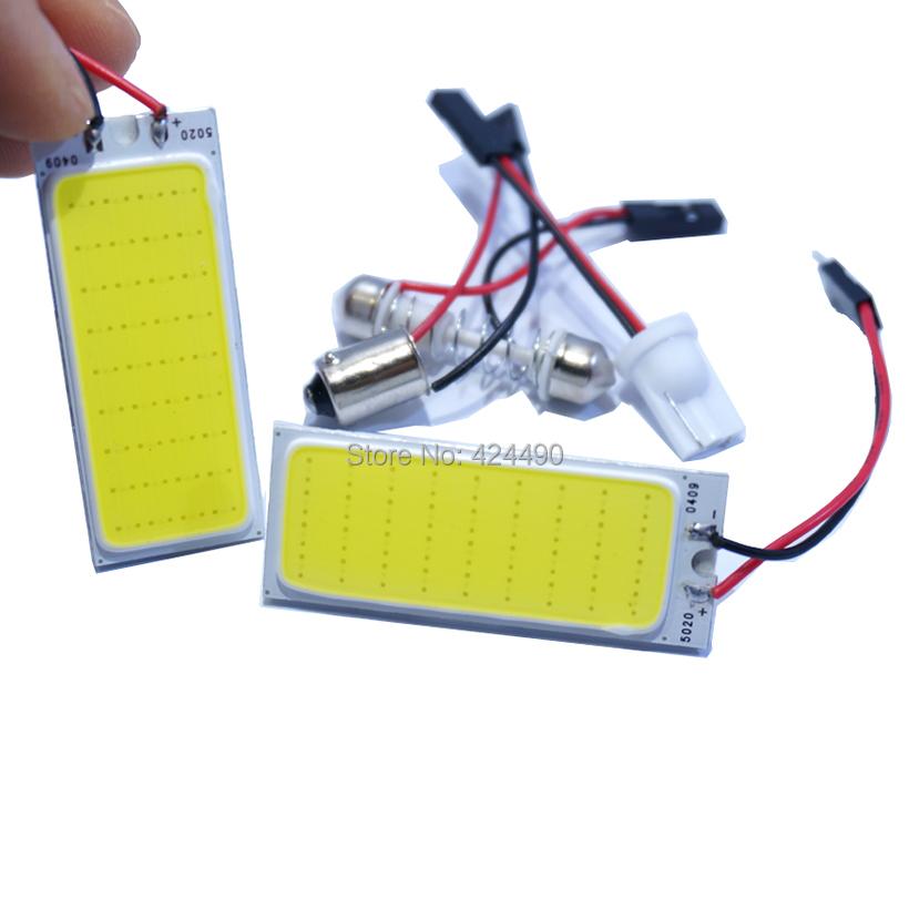 2sets/lot 5W COB Chip 36 led LED Car Interior Light T10 Festoon Dome BA9S Adapter 12V,Wholesale Car Vehicle LED Panel(China (Mainland))