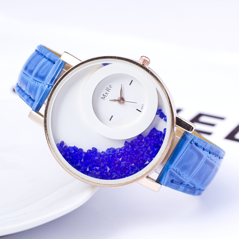 New Trendy Moving Rhinestone Women Watches PU Leather Round Gold Watch Women High quality Ladies Fashion Casual Watches relogio <br><br>Aliexpress