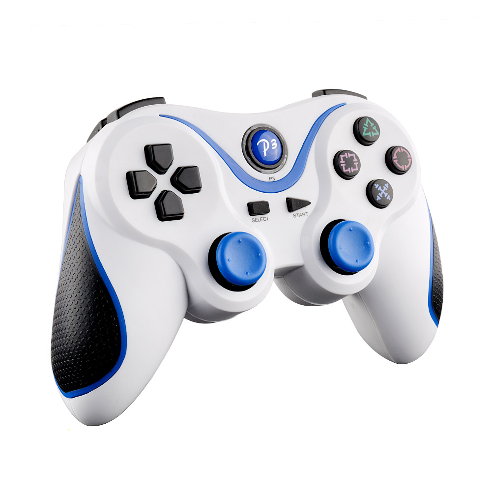 Hot Wireless Bluetooth Remote Doubleshock Game Controller White Blue For PS3 Playstation 3 PC laptop Phone android(China (Mainland))