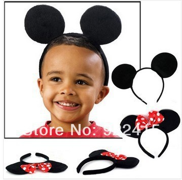 10pcs Children Hair Accessories Mickey Minnie Mouse Ears Headbands Birthday party Decoration Boys Girls headband Party Supplies(China (Mainland))