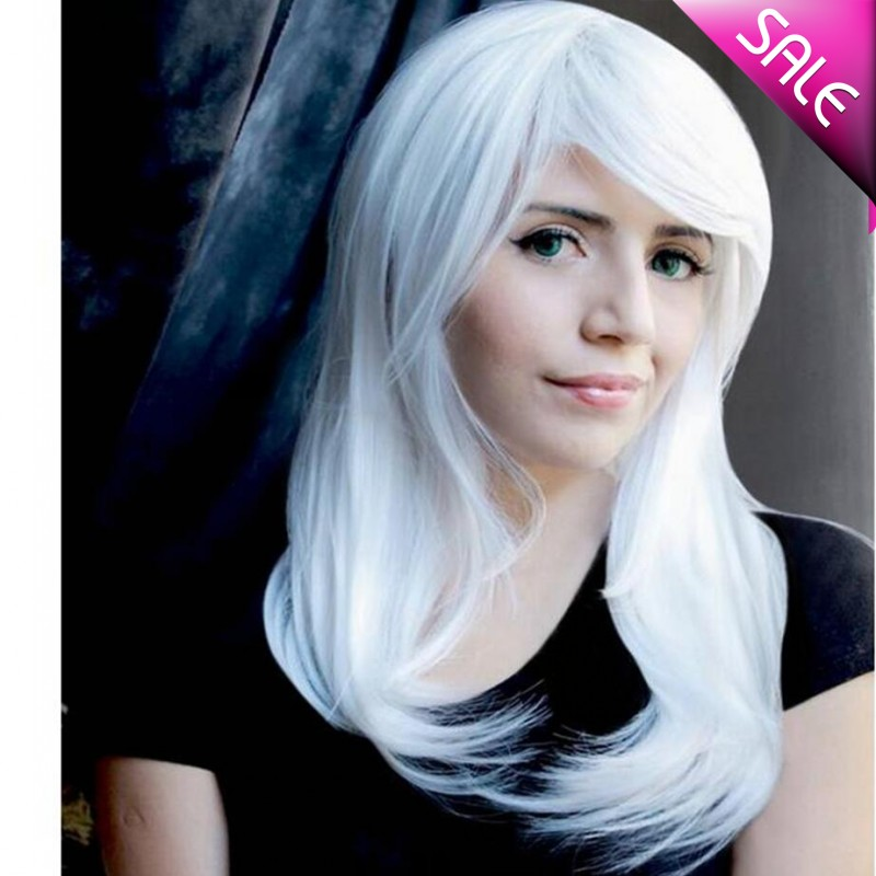 9 Colors Mid-length straight Eruopean westen womens natural synthetic hair wig,classic white pink blue korean party hair<br><br>Aliexpress