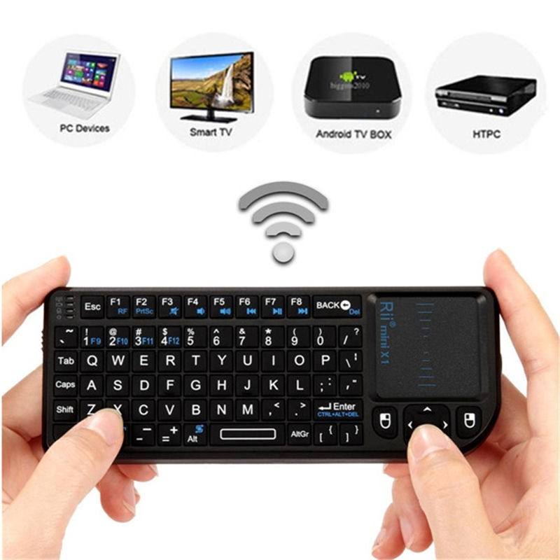 New Black 3 in 1 Rii mini X1 Handheld 2.4G RF Wireless Keyboard Qwerty With Touchpad Mouse For PC Notebook Smart Google TV Box(China (Mainland))