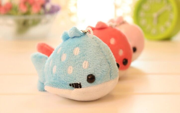 Super Kawaii CUTE Dots Embroidery Whale 10CM Plush Stuffed Keychain & Phone Charm Strap DOLL TOY Wedding Bouquet TOY Gift DOLL(China (Mainland))