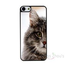 For iphone 4/4s 5/5s 5c SE 6/6s 7 plus ipod touch 4/5/6 back skins mobile cellphone cases cover Cute Snowed cats