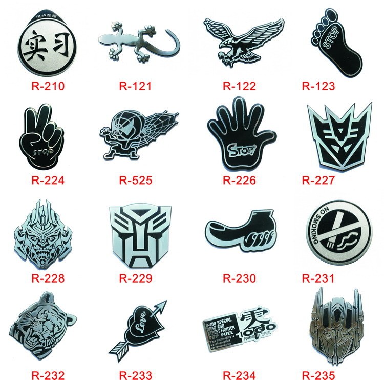 15 Style Aluminium Plating Cotton Car Sticker Emblem Badge Decal Fist Eagle House Lizard Foot Car Accessories For All Cars(China (Mainland))