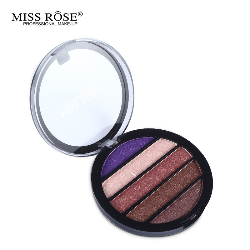 Brand New 5 Colors Eye Shadow Round Palette Makeup Glitter Pigment Eyeshadow Make Up Palette Layering Miss Rose Cosmetics(China (Mainland))
