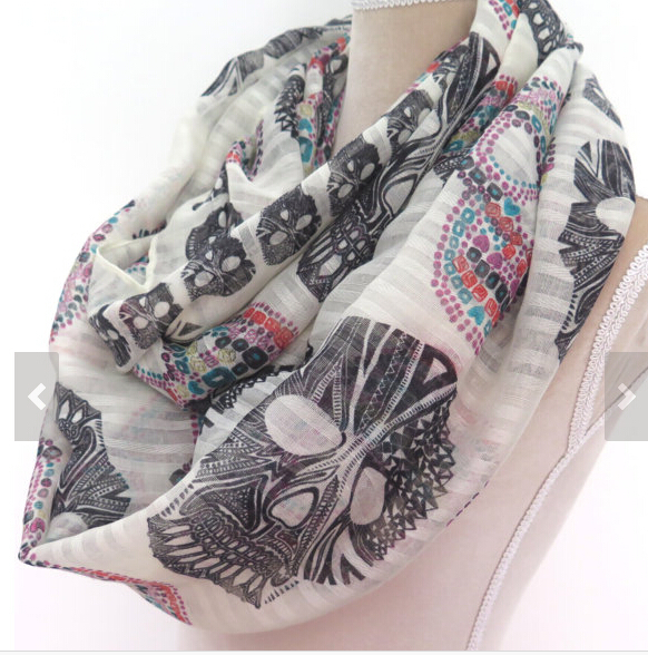 2015 Fashion Women Sugar Skull Infinity Scarf Soft Skull Printed Snood Round Scarf Retail FreeShipping(China (Mainland))