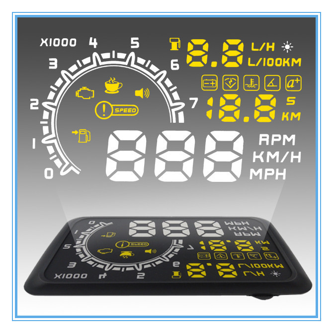 Sales Multi Car Head Up Display System Speed & Engine Details Showing OBD II Insert Design for Night & Overspeed & Fresh Driving(China (Mainland))