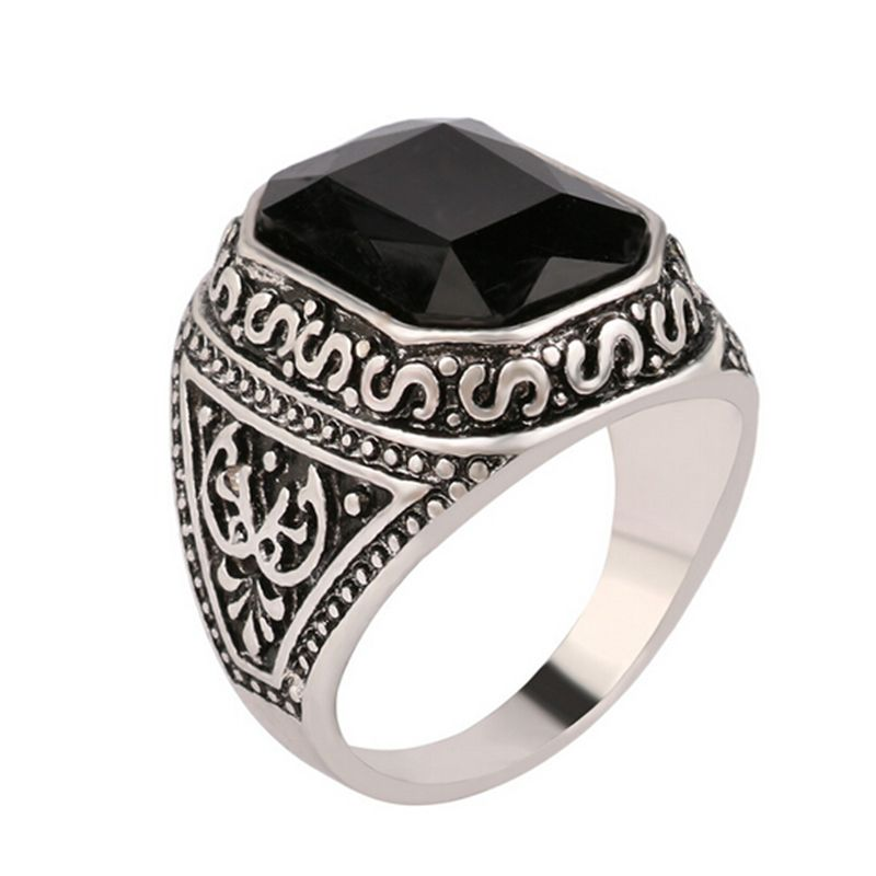 Size 7-12 Men Rings Big Black/Red Carved Stone Antique Silver Plated Ring For Women Retro Texture Engraved Wholesale Lover ring(China (Mainland))