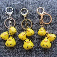 Cartoon Keychain-Promotion Gifts Rubber Duck Bell Key Chain Women Men Bag Charm Pendant Jewelry Accessories Christmas Gift(China (Mainland))