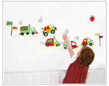 Free Shipping Cute Toy Car Cartoon Wall Sticker Decals For Baby Room Decor(China (Mainland))