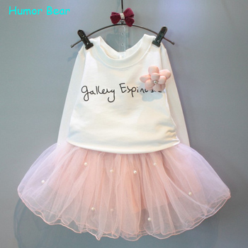 Humor Bear 2016 Baby girl clothes New Spring and Autumn long sleeve T-shirt + pink elegant princess dress kids clothes
