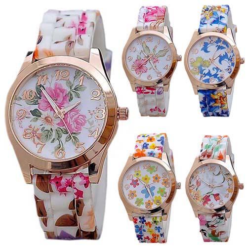 Гаджет  2015 New Fashion Women Silicon Band Flower Print Jelly Sports Quartz Wrist Watch  None Часы