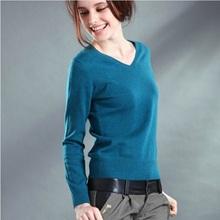 Новый 2016 осень - весна мода женщин сексуальный v-образным вырезом вязать конфеты цвет свитер верхняя одежда пуловер топы вязаный кашемировый свитер женщин(China (Mainland))