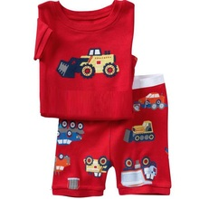 2015 Summer Boys Pajamas Sets Short Sleeve T-Shirts Shorts Pants Sleepwear 100% Cotton Pijama Boy Pyjama Red Vehicle