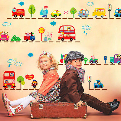 High quality City Transport System Train Cars School bus Fire Truck Kids Mural Wall Decals adesivo de parede asd(China (Mainland))