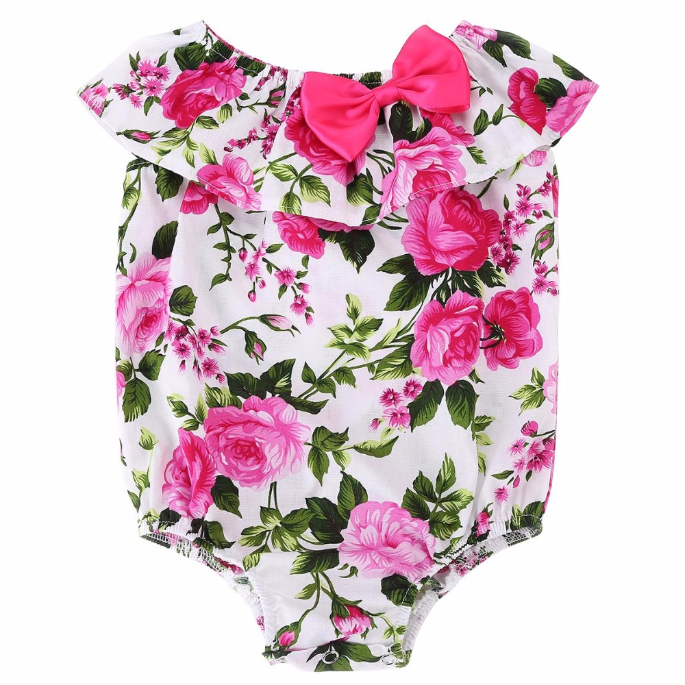 2016 New Cotton Floral O-neck Covered Button Baby Girl Rompers Summer,High Quality Sleeveless Beach Infant Girls Clothes #7E1033(China (Mainland))