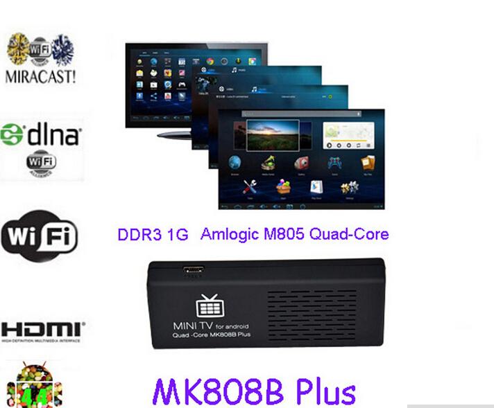 HD MK808 Android 4.4 Player HDMI TV Stick TV Dongle Amlogic M805 Quad-Core 1GB/8GB Mini PC XBMC Miracast/DLNA(China (Mainland))