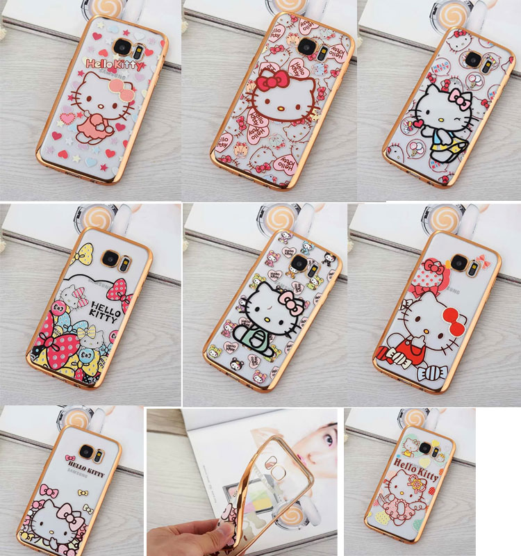 Fashion High Quality Plating Design Hello Kitty Cover Case for Samsung Galaxy S7 / S7 edge TPU gold edge soft hello kitty case(China (Mainland))