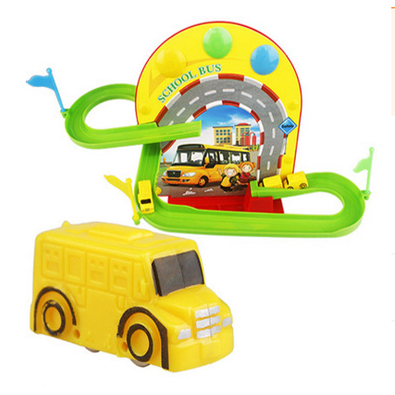 School bus bus toys set of orbits for children slide assembly slide toy car(China (Mainland))