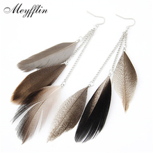2016 Vintage Feather Earrings For Women Boucle D'oreille Femme Fashion Long Earrings Brinco Jewelry Pendientes Bijoux(China (Mainland))