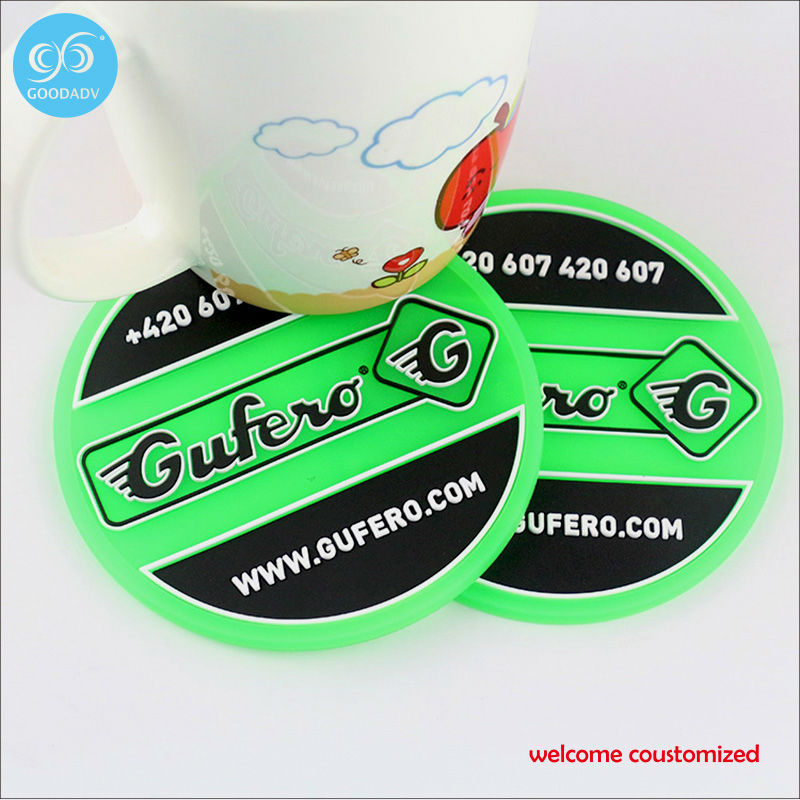 2D/3D LOGO Custom Soft PVC Coasters Insulation Pads 9cm Round Drink Coaster Table Cup Mats(China (Mainland))