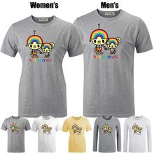 Cute rainbow Robot family Funny Printed T-Shirt Women's Girl's Graphic Tee Tops White Gray Yellow