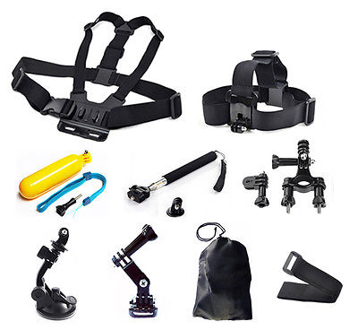 9in1 Head Chest Mount Floating Monopod Pole Accessories For GoPro 1 2 3 4 Camera SJ400