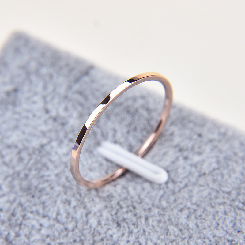 Martick 1MM 316L Stainless Steel Couple Ring 2 Color Rose Gold Finger Ring R3(China (Mainland))