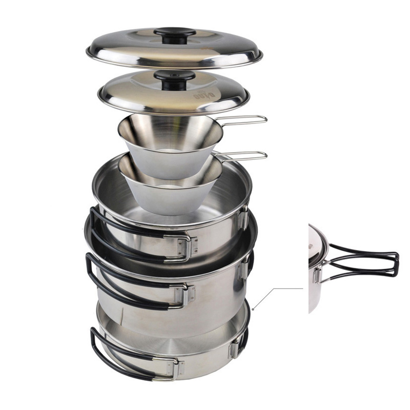 2-3 Persons Outdoor Picnic Pot Bowl Pan Cooking Set Stainless Steel Camping Cookware Set Portable(China (Mainland))