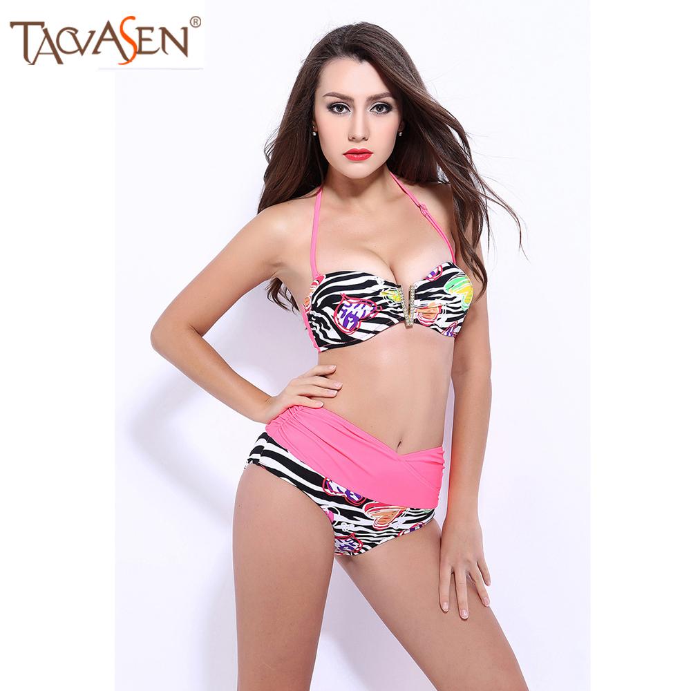 V-Plastron Bikini Set Patchwork Swimwear Scrunch Waistband Halter Bikini Women Swimsuit Push up Monokini Bandage Bikini Set(China (Mainland))