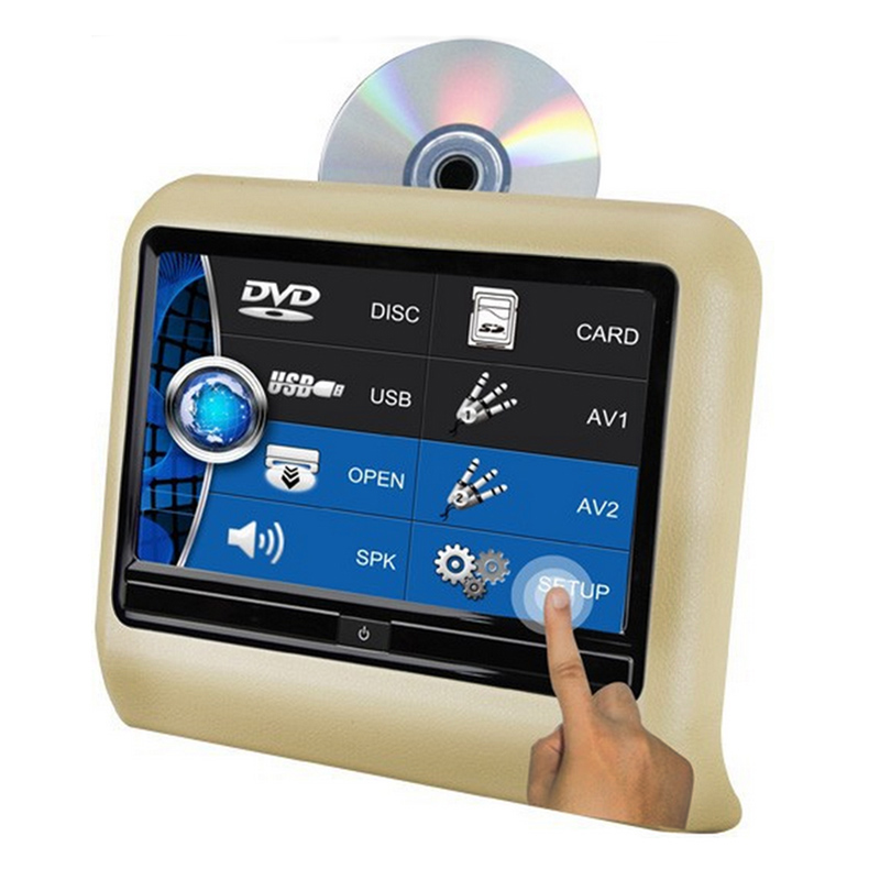 "9"" HD Touch Screen Car Headrest DVD Player with 32Bit Game+USB+SD+IR/FM transmitter Support MP3 MP4 MP5.(China (Mainland))"