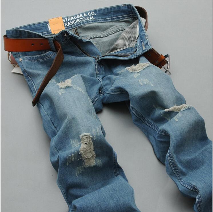 Новое мужская тонкий прямой джинсы отверстие джинсы промывают полоса ретро