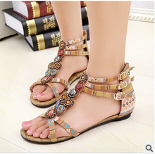 SUMMER STYLE Free shipping 2015 Flat Sandals Ankle T-strap Fashion Trend Sandals Bohemia Nation Flat Beaded sandals Hot sale(China (Mainland))