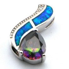 opal jewelry with cz stone;fashion opal pendant Mexican fire opal pendant The latest fashions OP165E-4