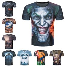 Buy Creative Male 2017 Funny Skull Joker 3D Print T Shirt Summer Short Sleeves Harajuku Tops T-shirt Men Brand Clothing Tshirt Homme for $4.35 in AliExpress store