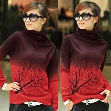 Soft Wool Pullover 2015 Autumn Korean Women Casual Trendy Turtleneck Branch Print Sweater Ladies Leisure Tops Plus Size S-3XL(China (Mainland))
