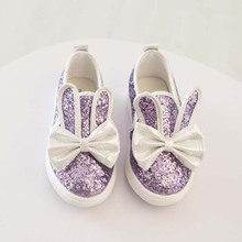 2015 spring autumn baby shoes girls butterfly shoes paillette children kids rabbit flat shoes toddler princess brand fisherman(China (Mainland))