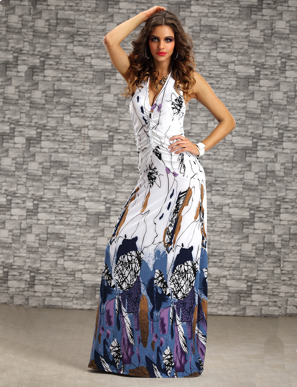 9 Colors New Arrive Fashion Summer Beach Dress For Women Halter Neck Ladies Long Maxi Dress(China (Mainland))