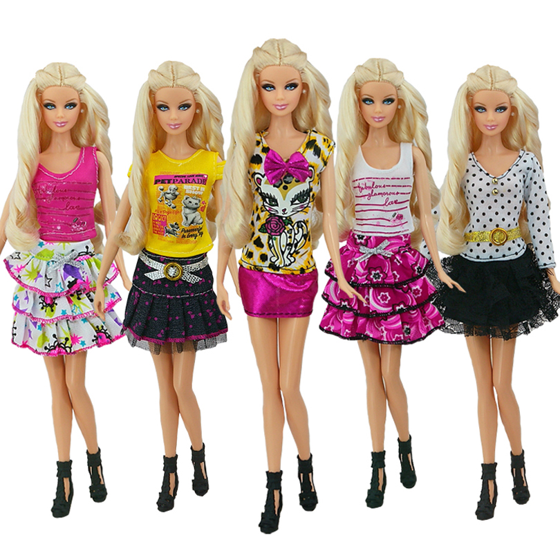 5 Pcs / lot Beautiful Sexy Dress Casual Wear Party Gown Clothes For Barbie Doll Free shipping(China (Mainland))