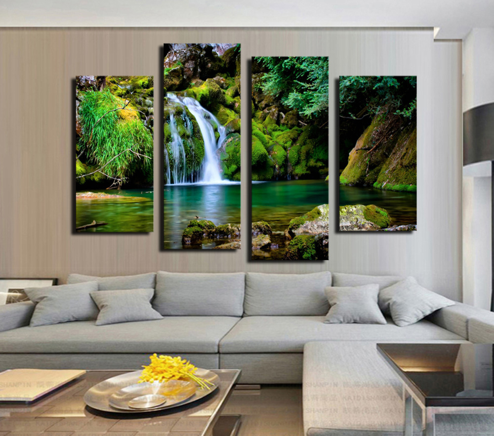 New Fashion 4 Panel Wall Painting Green Forest Waterfall Lake Large HD Picture Modern Style Canvas Print Home Decor Unframed(China (Mainland))