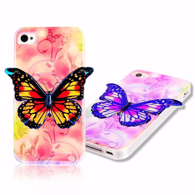 For iPhone 5 5S Soft TPU 3D Phone Cases Luxury Bling Discolor Butterfly Painting Protective Cover for iPhone5S Shipping(China (Mainland))