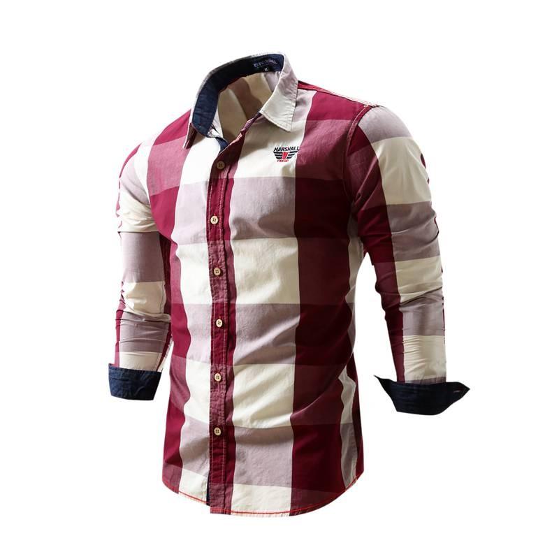 US Size Big Plaid Shirt Men\`s Long-Sleeved Shirt 100% Cotton Casual Brand Chemise Homme Fashion Business Shirts Plus Size M099 (1)