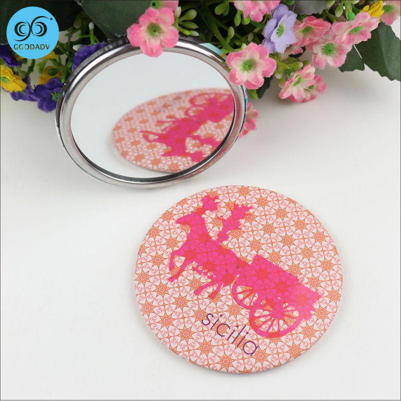New arrival top sale custom logo tinplate metal pocket mirror free shipping(China (Mainland))