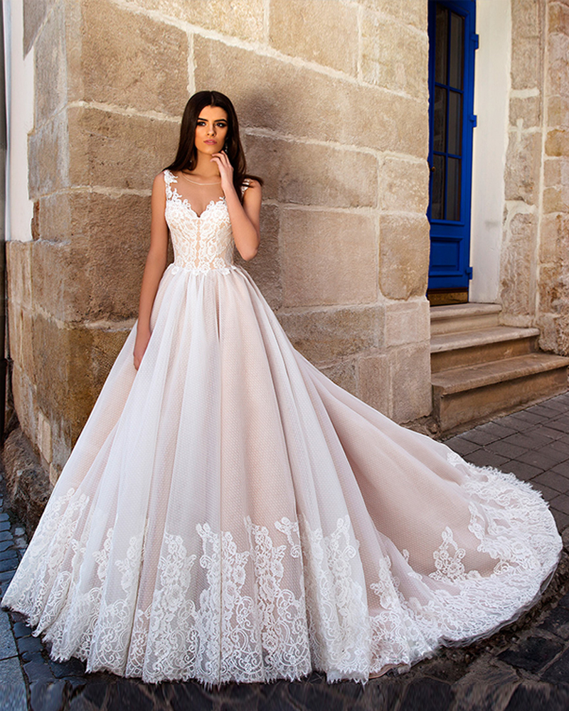 Luxury Princess Long Chapel Train Lace Appliques A-Line Pink Satin Nude Tulle Wedding Dresses 2016 Strapless Bridal Gownd Plus(China (Mainland))